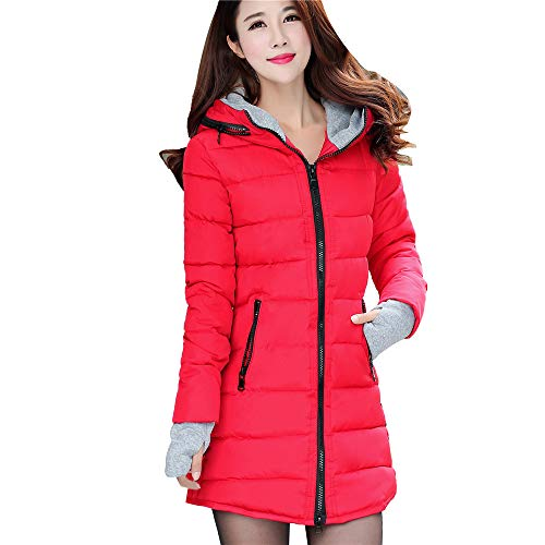 ZEFOTIM Women Long Sleeve Outerwear with Gloves Cotton-Padded Jackets Pocket Hooded Coat(XXX-Large,Red)