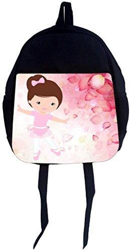 Ballerina Pink Rose Petal - Rosie Parker Inc. PreSchool Children's Backpack- Pink Ballerina Dancer and Rose Petals-Print Design