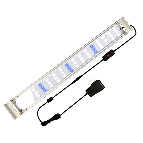 GOOBAT LED Aquarium Light, Fish Tank Hood Led Lighting for Planted and Marine Aquariums, White and Blue LED Lighting, 24-Inch, 16W (Actinic Aquarium Lighting)