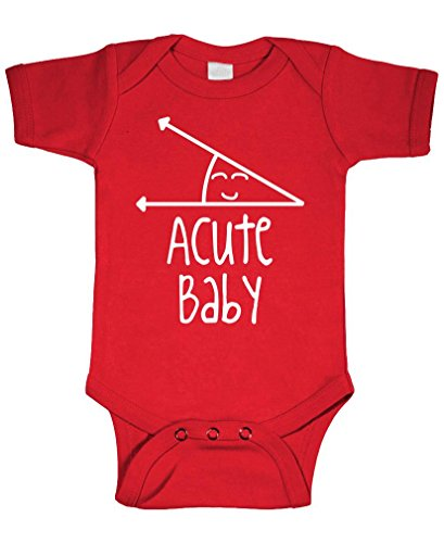 Acute Baby - Math Humor Angle Obtuse - Cotton Infant Bodysuit, 12m, Red
