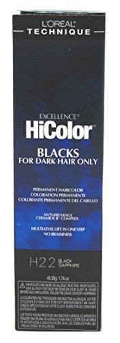 L'oreal Paris Excellence Hicolor Permanent Hair Color, Black Sapphire (L Oreal Excellence Hicolor For Dark Hair)