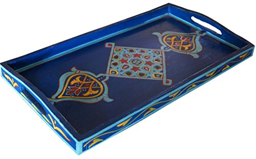 Handmade Moroccan Wood Tray Serving Painted Decorative With Handle For Tea Coffee Breakfast in Bed
