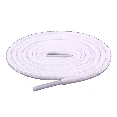 Sechunk Oval Wax Shoelaces 30 Colors 4 Different Lengths Set of 2 Pairs (100cm, white)