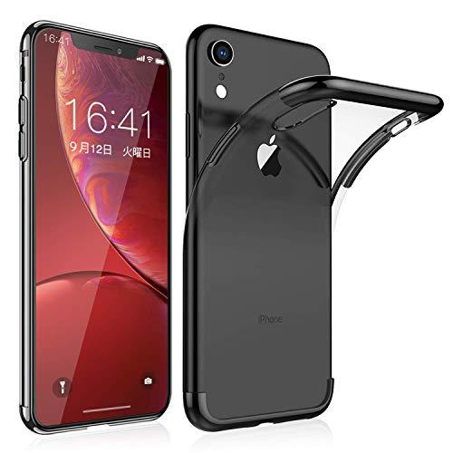 iPhone ケース クリア ソフトカバー/アイフォンXR ケース [透明TPU] [360度全面保護][落下防止][薄型 軽量][QI充電対応]人気高 おしゃれ アイフォンXR 耐衝撃 カバー (iphone XR, 黒)
