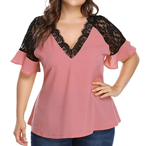 Price comparison product image HebeTop Women's Plus Size Casual Chiffon Lace Blouse Short Sleeve Solid Color V Neck Tunic Shirt Pink