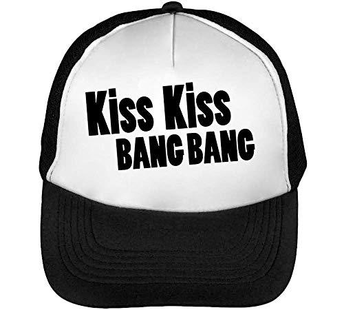 Snapback Bang Negro Blanco Beisbol Gorras Fonted Black Kiss Bang Hombre Kiss znOwZ0