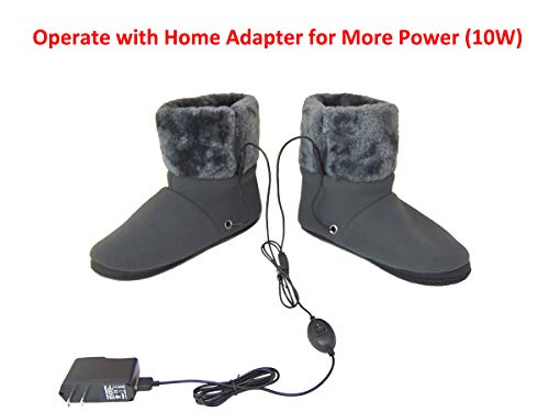 ObboMed MF-2300M USB 5V 10W Cozy Carbon Fiber Heated Warming Booties Soft Sole – Size: M: #41 (fits Foot up to 41) -Heating Slippers, Infrared Shoe, Warm Pad, Foot Heater, Cold feet Solution.
