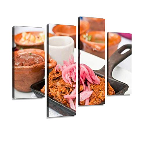 YKing1 Cochinita pibil or marinated Shredded Pork Meat Wall Art Painting Pictures Print On Canvas Stretched & Framed Artworks Modern Hanging Posters Home Decor 4PANEL