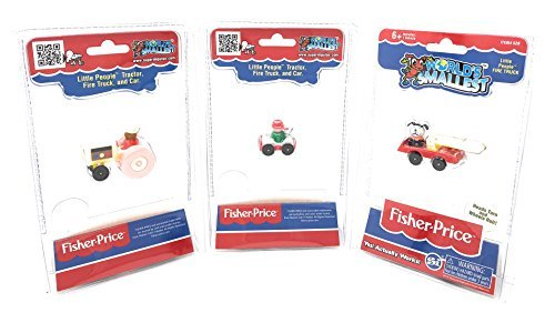 World's Smallest Fisher-Price Little People Vehicles - Tractor - Fire Truck - Car - Set of 3