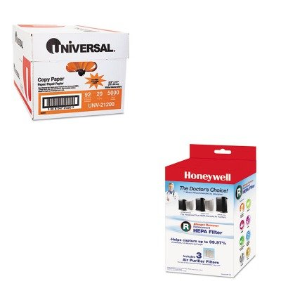 KITHWLHRFR3UNV21200 - Value Kit - Honeywell Allergen Remover Replacement HEPA Filters (HWLHRFR3) and Universal Copy Paper (UNV21200)