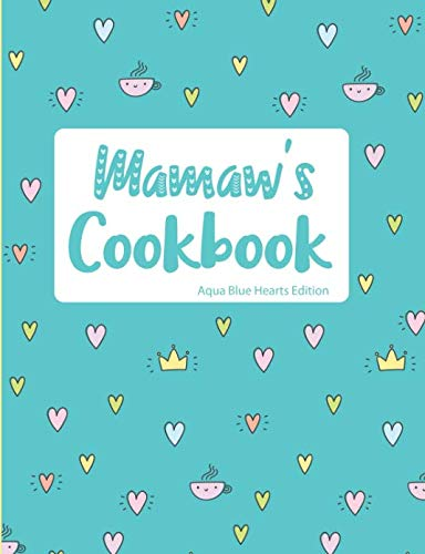 Mamaw's Cookbook Aqua Blue Hearts Edition by Pickled Pepper Press