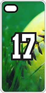 Softball Sports Fan Player Number 17 White Rubber Decorative iPhone 4/4s Case by supermalls