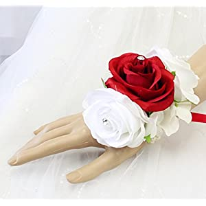 Angel Isabella Wrist Corsage - Red and White Roses - Perfect from prom, wedding, homecoming, etc. 71