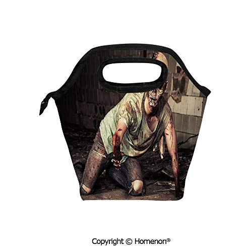 Insulated Neoprene Soft Lunch Bag Tote Handbag lunchbox,3d prited with Halloween Scary Dead Man in Old Building with Bloody Nightmare Theme,For School work Office Kids Lunch Box & Food Container -