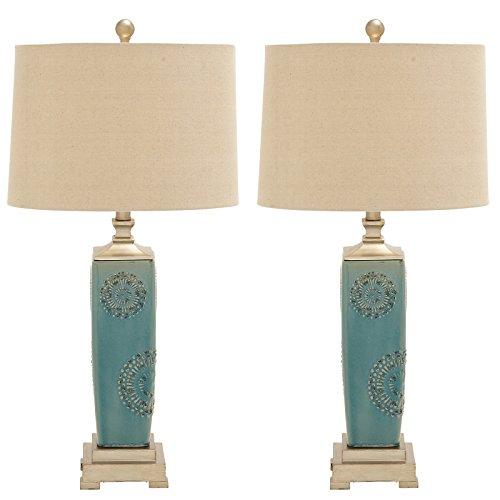 Urban Designs Imported Victoria Ceramic Table Lamp - Set of 2, Sky Blue