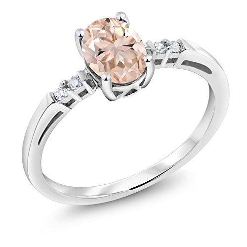 Gem Stone King 14K White Gold 0.68 Ct Oval Peach Morganite White Diamond Women's Engagement Ring (Size 8)