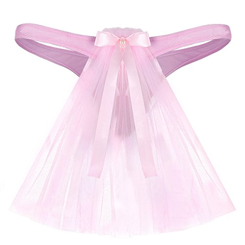 Thong Rise Bow Low Bridal (ACSUSS Men's Sissy Briefs Bridal Wedding G-String Underwear with Attached Veil Pink X-Large(Waist 32.0-43.0