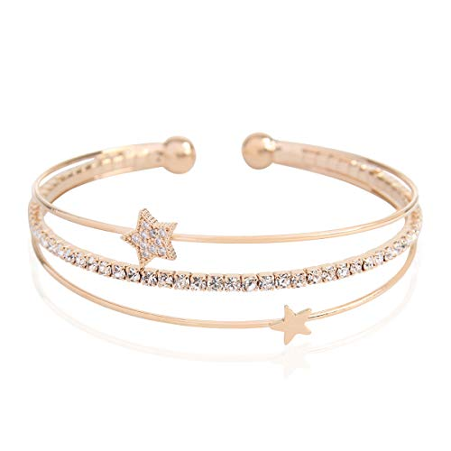 (RIAH FASHION Sparkly Rhinestone Bridal Wedding Statement Bracelet - Cubic Zirconia Crystal Stretch Memory Wire/Adjustable Wrist Band Cuff/Hinge Bangle/Delicate Star Heart Flower (Pave Star - Gold))