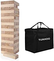 TUAHOO Giant Tumbling Tower Games Wooden Blocks Stacking Game for Adult, Kids, Family Outdoor Backyard Games (