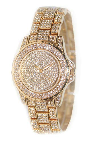 Dyshuai Women's Gold Shining Bling Diamond Crystal Rhinestone Accented Wrist Watch