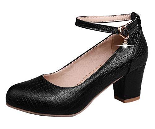 Boucle Couleur À Unie Légeres Noir Correct Femme Agoolar Cuir Talon Chaussures Pu Gmbdb011525 S4Wax
