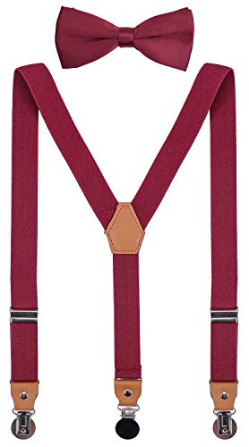 CEAJOO Men Bow Tie and Suspenders Set Adjustable with Round Metal Clips 48'' Maroon]()