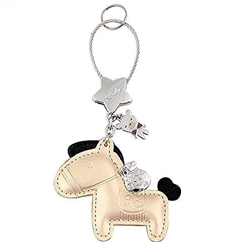 Leather Keychain Cute Luxury Horse Design Car Keys Chain, Purse Pendant Handbags Charm for Women Girls Valentine Gifts, Golden