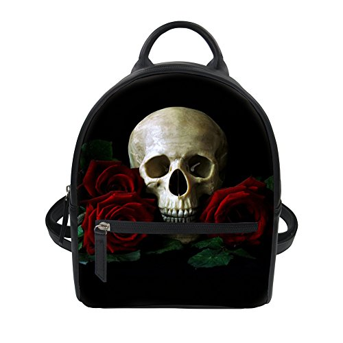 - Horeset Mini Backpack PU Leather Skull Print Fashion Shoulder Purse Small Daypacks Bag for Women Girls Ladies Travel bag