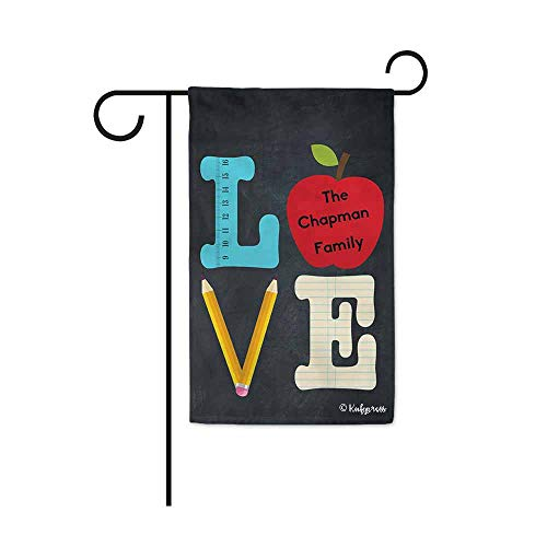 KafePross Back to School Apple Pencil Love Garden Flag for Outside Customize Family Name 12.5X18 Inch Print Double Sided