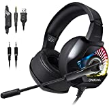 ONIKUMA K6 RGB LED Gaming Headset for Xbox One, PS4, Nintendo Switch, PC