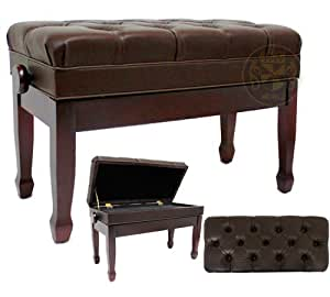 Maestro 30 Inch Long Duet Deluxe Adjustable Satin Mahogany Piano Bench With Music