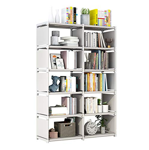 Cube Storage, 5 Tier 10 Cubes Organizer Shelves, Bookcase Shelve for Living Room, Study Room, Bedroom and Office (Gray)