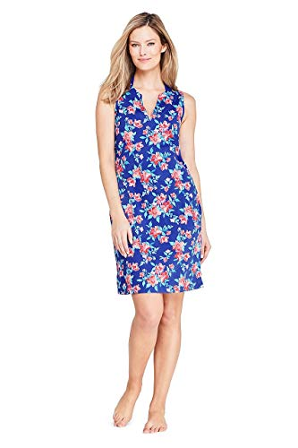Lands' End Women's Cotton Jersey Sleeveless Swim Cover-up Dress Print
