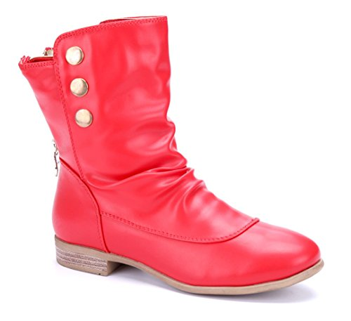 Schuhtempel24 Damen Schuhe Flache Stiefeletten Stiefel Boots Blockabsatz 2 cm Rot