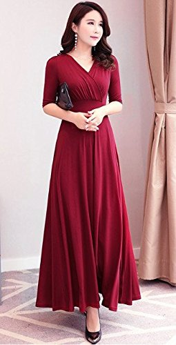 MiGMV?2018 Robes Robe Femme, Robe, Manches Courtes, Taille Haute, Jupe, Grand V Longue Jupe. Wine red five split sleeves