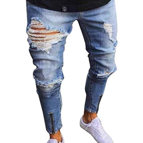 Rodilleras Arrugadas De La Manera De Los Hombres Tamaños Cómodos Pantalones Del Mendigo Del Cierre De La Pierna Cómodo Pantalones Vaqueros Del Dril De Algodón Recto Respirable De La Cintura Media Ropa Blau
