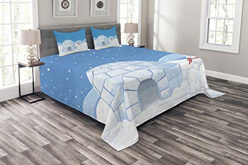 Bear Polar Riding (Ambesonne Polar Bear Bedspread Set Queen Size, Mom Polar Bear Riding Her Baby Motherhood Igloo Snow House Ice Scenery, 3 Piece Decorative Quilted Coverlet with 2 Pillow Shams, Pale Blue and White)