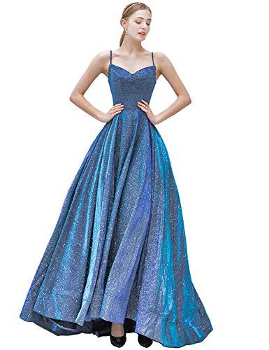 - Lagrace Women's Spaghetti Strap A-line Satin Long Prom Dress Sweetheart Sleeveless Glitter Evening Gown Blue 06