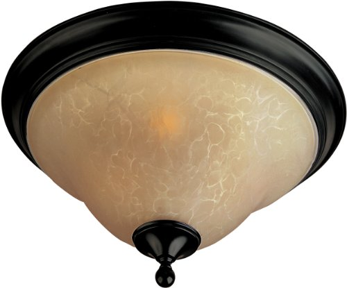 Maxim 85801WSOI Linda EE 3-Light Flush Mount, Oil Rubbed Bronze Finish, Wilshire Glass, GU24 Fluorescent Bulb, 100W Max, Wet Safety Rating, Standard Dimmable, Glass Shade Material, 1150 Rated Lumens
