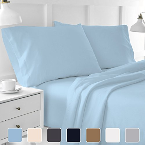Cottington Lane 400 Thread Count Sateen Weave Sheen & Softer Feel, 4 Piece Bed Sheet Set 100% Pure Natural Cotton, Super Finish Fit Mattress Up To 15″ Deep Pocket Sheets(Short Queen, Solid Light Blue)