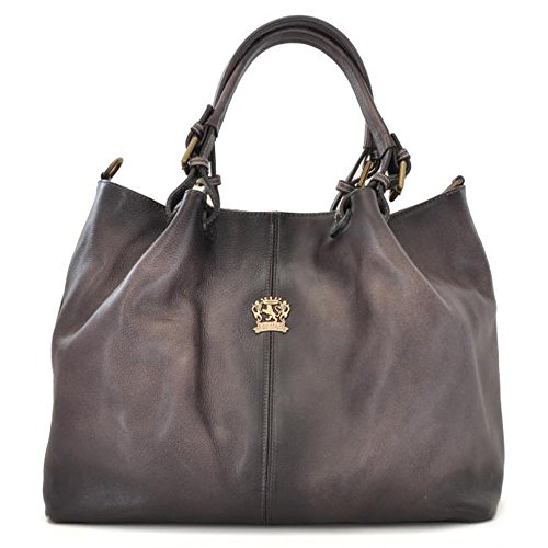 Leather Hobo Grey Shoulder Italian Aged Bag Bucket Handbag Pratesi UwxaSU