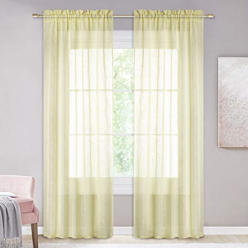 NICETOWN Linen Textured Window Sheer - Pocket Top Design Translucent Semi Voile Casual Wave Draperies for Guest Room/Villa (Tender Yellow, 52 inches W by 84 inches L, Set of 2) (Luxury Designs Pergola)