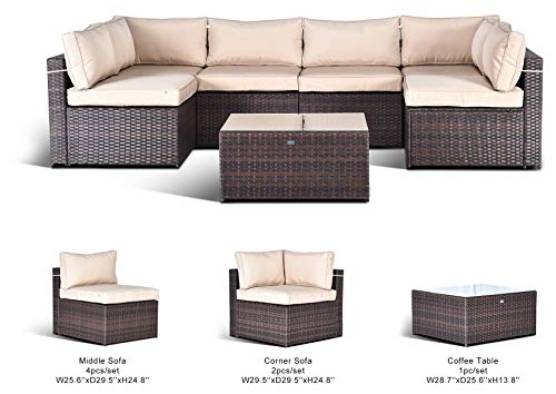 Gotland 7-Piece Outdoor Furniture Sectional Sofa & Glass Coffee Table (Fade Brown)