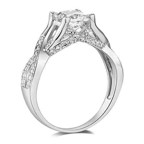 .925 Sterling Silver Rhodium Plated Wedding Engagement Ring - Size 8.5