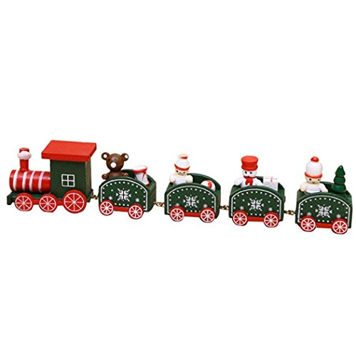 Price comparison product image Kids Christmas Gift Toy Wood Train Stitching Toys Christmas Decoration/Christmas Train Toy (Army Green)