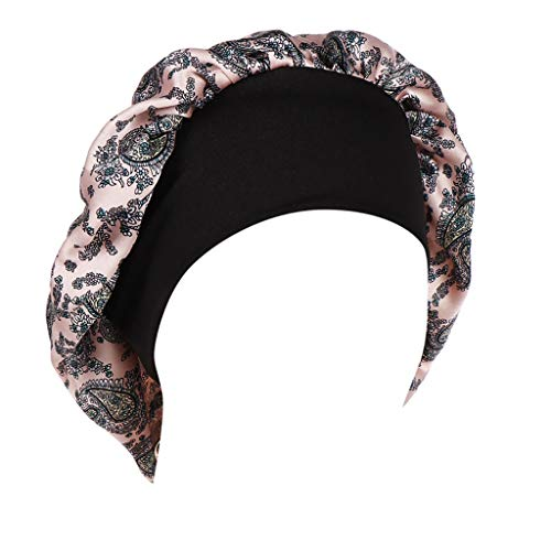 Loosebee Women Floral Printed India Hat Muslim Ruffle Cancer Chemo Beanie Turban Wrap Cap Headwear Pink