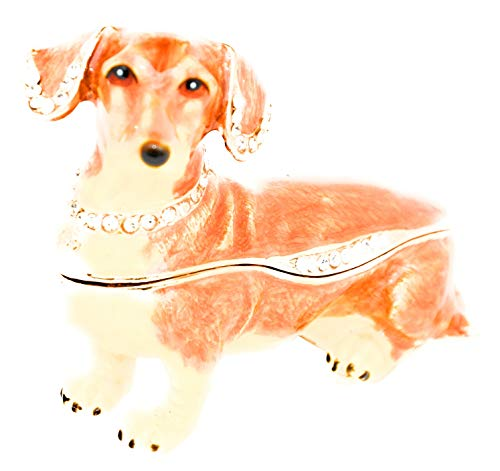 ible Trinket Box with Rhinestone Bejeweled Swarovski Crystals - Brown Dachshund Dog ()