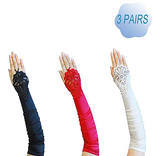 (Women Fingerless Lace Sequins Satin Bridal/Opera/Gatsby Party Gloves 3)