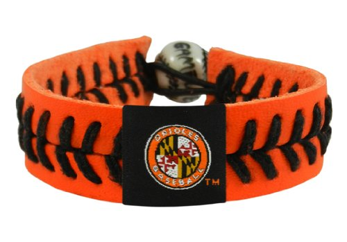 MLB Baltimore Orioles Jersey Sleeve Logo Orange Leather/ Black Thread Team Color Baseball Bracelet