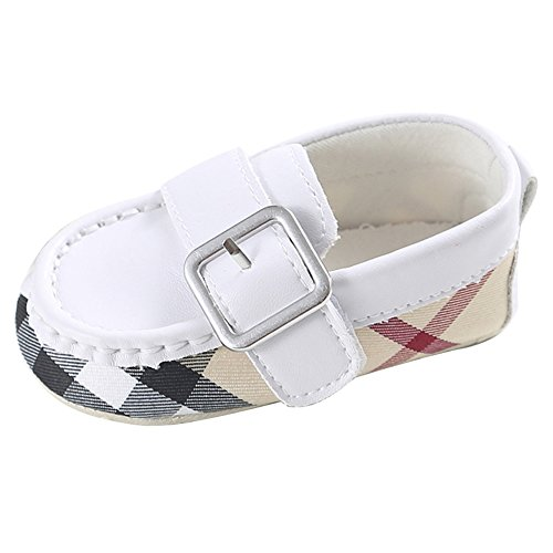 lassic British Style Buckle Paild Loafer Prewalker Crib Shoes White 0-6 Months (Patchwork Flat Shoes)